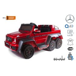 Elektrické autíčko Mercedes-Benz G63 6X6, červená Lakované, LCD obrazovka, 6 Kol, Podsvícené kola, Pohon 4x4, 12V14AH, přesností baterie, EVA kola, Čalouněné sedadlo, 2,4 GHz DO, klíč, 4 X MOTOR, Dvoumístné, Dvě pedálové tlačítka