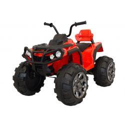 Elektrická čtyřkolka HERO 12V, červené, měkké kola, 2,4 GHz DÁLKOVÉ OVLÁDÁNÍ, kožená sedanka, odpružené, 12V7Ah baterie