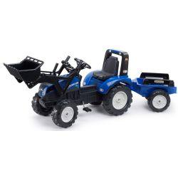 FALK Šlapací traktor 3090M New Holland T8 s nakladačem a vlečkou