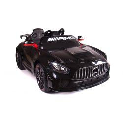 Elektrické autíčko Mercedes-Benz GT4, 12V, 2,4 GHz dálkové ovládání, odpružení, otvíravé dveře, měkké EVA kola, 2 X MOTOR, černé, posilovač řízení, ORGINAL licence