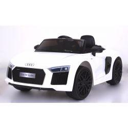 Elektrické autíčko Audi R8 Spyder, 12V, 2,4 GHz dálkové ovládání, otvíravé dveře, EVA kola, kožené sedadlo, 2 X MOTOR, bílé, ORGINAL licence
