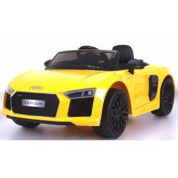 Elektrické autíčko Audi R8 Spyder, 12V, 2,4 GHz dálkové ovládání, otvíravé dveře, EVA kola, kožené sedadlo, 2 X MOTOR, žluté, ORGINAL licence