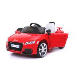 Elektrické autíčko Audi TT RS, 12V, 2,4 GHz dálkové ovládání, otvíravé dveře, EVA kola, kožené sedadlo, 2 X MOTOR, červené, ORGINAL licence