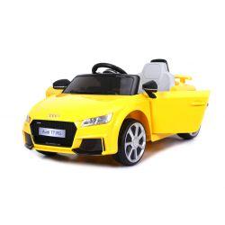 Elektrické autíčko Audi TT RS, 12V, 2,4 GHz dálkové ovládání, otvíravé dveře, EVA kola, kožené sedadlo, 2 X MOTOR, žluté, ORGINAL licence