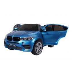 Elektrické autíčko BMW X6 M, 2 místní, 2 x 120W motor, 12V, elektrická brzda, 2,4 GHz dálkové ovládání, otvíravé dveře, EVA kola, kožené sedadlo, 2 X MOTOR, modré lakované, ORGINAL licence