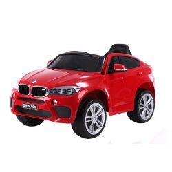 Elektrické autíčko BMW X6M NEW - jednomístné, červené, EVA kola, kožené sedadlo, 12V, 2,4 GHz DO, 2XMOTOR, USB, SD karta, ORGINAL licence