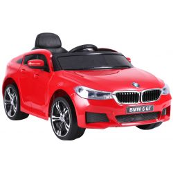 Elektrické autíčko BMW 6GT - jednomístné, červené, Baterie 2 x 6V / 4Ah, 2,4 GHz DO, 2XMOTOR, USB vstup, ORGINAL licence