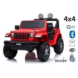 Elektrické autíčko JEEP Wrangler, Jednomístné, červené, Kožená sedadla, Rádio s Bluetooth přehrávačem, SD / USB vstup, Pohon 4x4, 12V10Ah Baterie, EVA kola, Odpružené nápravy, 2,4 GHz Dálkové Ovládání