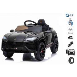 Elektrické autíčko Lamborghini Urus, 12V, 2,4 GHz dálkové ovládání, USB / SD Vstup, odpružení, otvíravé dveře, měkké EVA kola, 2 X MOTOR, černé, ORIGINAL licence