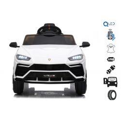 Elektrické autíčko Lamborghini Urus, 12V, 2,4 GHz dálkové ovládání, USB / SD Vstup, odpružení, otvíravé dveře, měkké EVA kola, 2 X MOTOR, Bílé, ORIGINAL licence