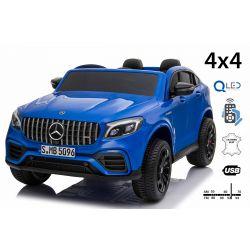 Elektrické autíčko Mercedes-AMG GLC, Dvoumístné, modré, Kožená sedadla, Rádio s USB vstupem, Pohon 4x4, 2x 12V7Ah Baterie, EVA kola, Odpružené nápravy, 2,4 GHz Dálkové Ovládání