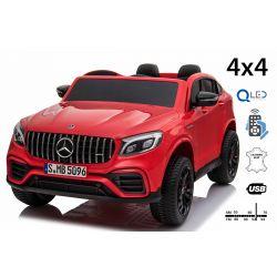 Elektrické autíčko Mercedes-AMG GLC, Dvoumístné, červené, Kožená sedadla, Rádio s USB vstupem, Pohon 4x4, 2x 12V7Ah Baterie, EVA kola, Odpružené nápravy, 2,4 GHz Dálkové Ovládání