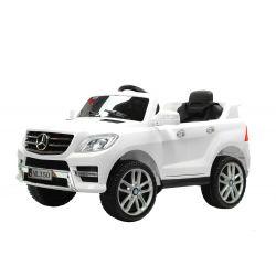 Elektrické autíčko Mercedes-Benz ML350, Plastový sedák, odpružené nápravy, USB / SD Vstup, Baterie 12V, 2 X MOTOR, Bílé, ORGINAL licence
