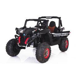 Elektrické autíčko NEW RSX Černé, Pohon 4x4, 2x12V, EVA kola, široké dvoumístné sedadlo, Klíč, 2,4 GHz DO, 4 X MOTOR, Dvoumístné, USB, SD karta