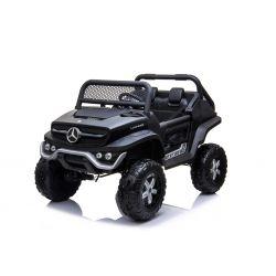 Elektrické autíčko Mercedes Unimog černý, Pohon 4x4, 12V / 14Ah, EVA kola, široké dvoumístné sedadlo, 2,4 GHz Dálkový Ovladač, 4 X MOTOR, Dvoumístné, USB, SD karta, Rádio