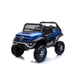 Elektrické autíčko Mercedes Unimog modrý lakovaný, Pohon 4x4, 12V / 14Ah, EVA kola, široké dvoumístné sedadlo, 2,4 GHz Dálkový Ovladač, 4 X MOTOR, Dvoumístné, USB, SD karta, Rádio