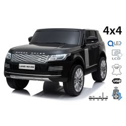 Elektrické autíčko Range Rover, Dvoumístné, černé, Kožená sedadla, LCD Displej se vstupem USB, Pohon 4x4, 2x 12V7AH, EVA kola, Odpružené nápravy, Klíčová třípolohové startování, 2,4 GHz Bluetooth Dálkový Ovladač