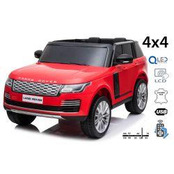 Elektrické autíčko Range Rover, Dvoumístné, červené, Kožená sedadla, LCD Displej se vstupem USB, Pohon 4x4, 2x 12V7AH, EVA kola, Odpružené nápravy, Klíčová třípolohové startování, 2,4 GHz Bluetooth Dálkový Ovladač