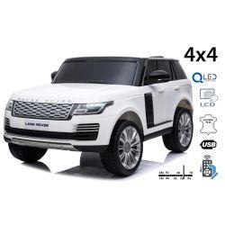 Elektrické autíčko Range Rover, Dvoumístné, bílé, Kožená sedadla, LCD Displej se vstupem USB, Pohon 4x4, 2x 12V7AH, EVA kola, Odpružené nápravy, Klíčová třípolohové startování, 2,4 GHz Bluetooth Dálkový Ovladač