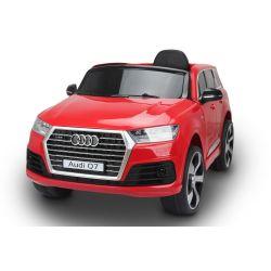 Elektrické autíčko Audi Q7, červené, EVA kola, kožené sedadlo, 12V, 2,4 GHz DO, 2XMOTOR, USB, SD karta, ORGINAL licence