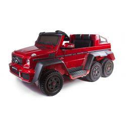 Elektrické autíčko Mercedes-Benz G63 6X6, červená Lakované, LCD obrazovka, 6 Kol, Podsvícené kola, Pohon 4x4, 12V14AH, přesností baterie, GUMENÉ kola, Čalouněné sedadlo, 2,4 GHz DO, klíč, 4 X MOTOR, Dvoumístné, Posilovač řízení, Posilovač řízení, Dvě pedá