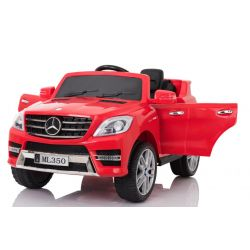 Elektrické autíčko Mercedes-Benz ML350, čalouněný sedák, odpružené nápravy, USB / SD Vstup, EVA kola, Baterie 12V, 2 X MOTOR, Červené, ORGINAL licence