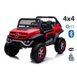 Elektrické autíčko Mercedes Unimog červený, Pohon 4x4, 12V / 14Ah, EVA kola, široké dvoumístné sedadlo, 2,4 GHz Dálkový Ovladač, 4 X MOTOR, Dvoumístné, USB, SD karta, Rádio