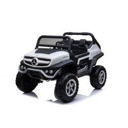 Elektrické autíčko Mercedes Unimog Bílé, Pohon 4x4, 12V / 14Ah, EVA kola, široké dvoumístné sedadlo, 2,4 GHz Dálkový Ovladač, 4 X MOTOR, Dvoumístné, USB, SD karta, Rádio