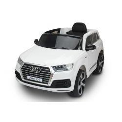 Elektrické autíčko Audi Q7, bílá, EVA kola, kožené sedadlo, 12V, 2,4 GHz DO, 2XMOTOR, USB, SD karta, ORGINAL licence